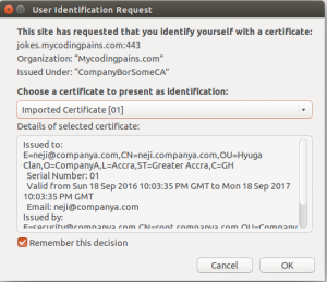 Browswer prompting for certificate to select