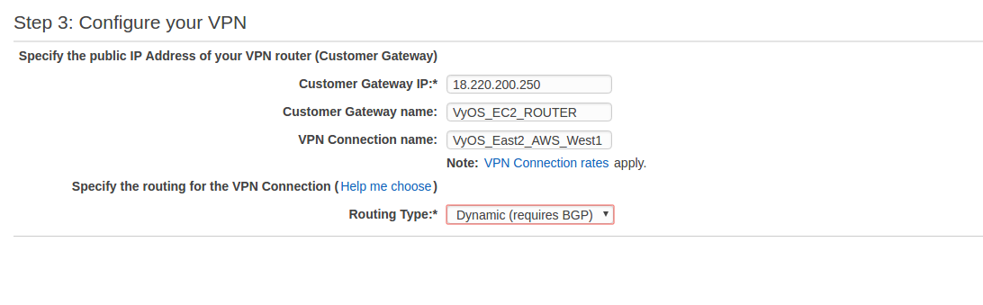 How to establish a route based VPN connection to AWS