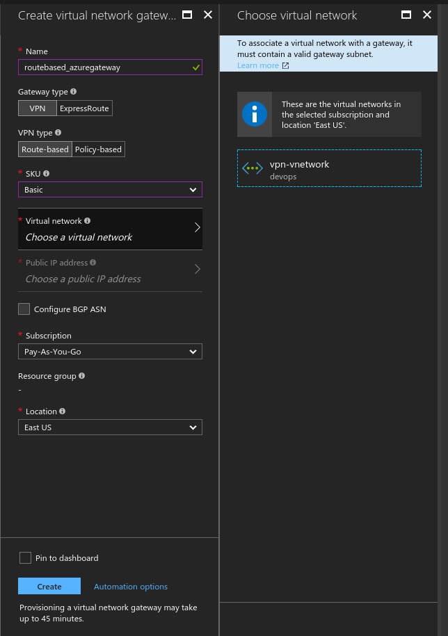 How to establish a Route Based VPN with Azure VPN (no BGP