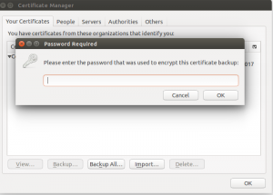 Browser challenging for export code before adding certificate